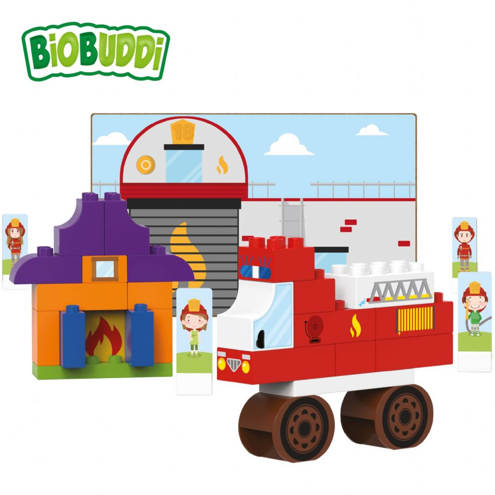 BiOBUDDi - Fire Station - Eco Friendly Block Set - 40 Blocks
